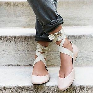FREE PEOPLE Degas Lace Up Ballerina Flat Size 36